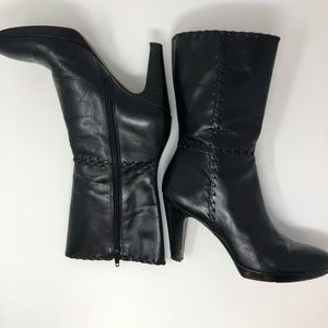 Antonio Melani Black Leather Boots Size 7